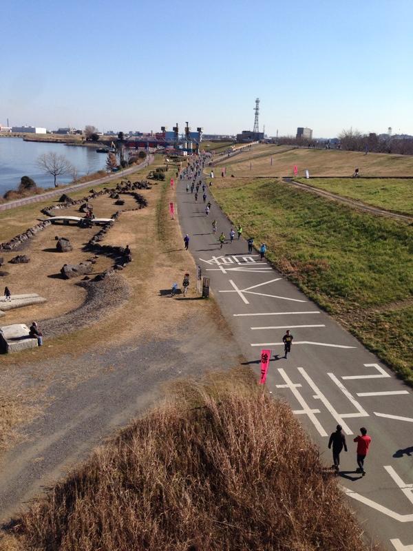 荒川、谷川真理マラソンの風景